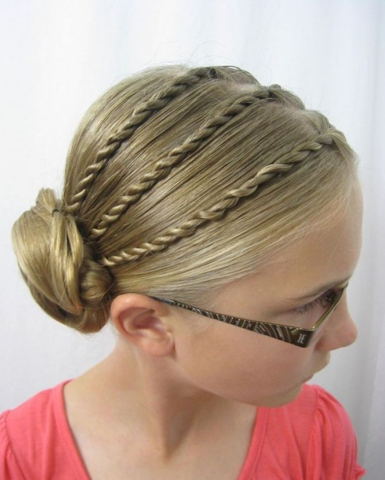 Bun hairstyle for little girls over