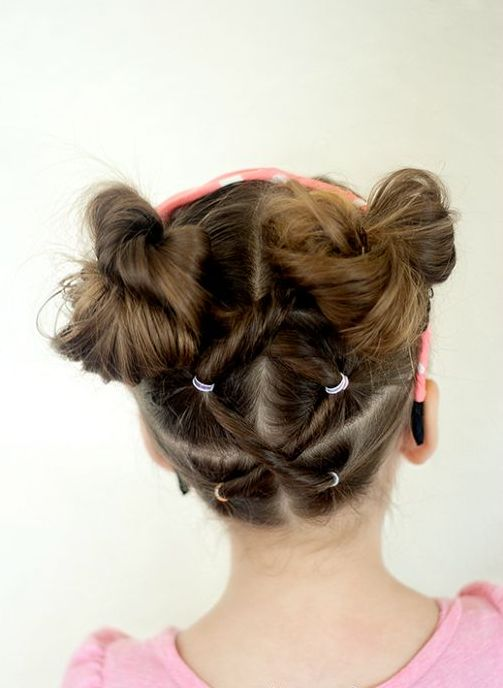 Bow bun hairstyle for little girls over