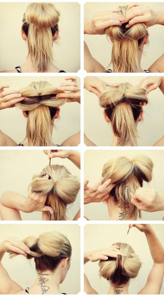Bun bow hairstyle over
