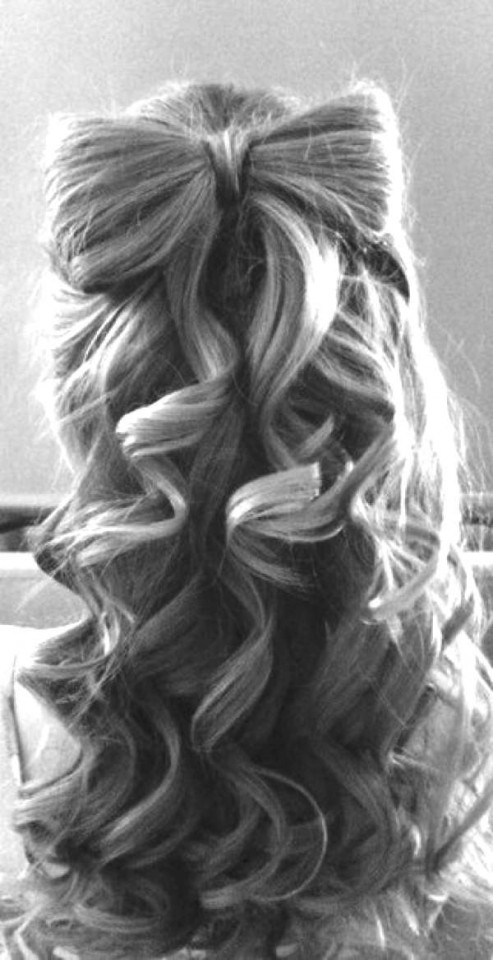 Half Up Half Down Bow Hairstyle Over