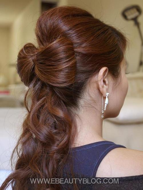 Ponytail bow hairstyle over