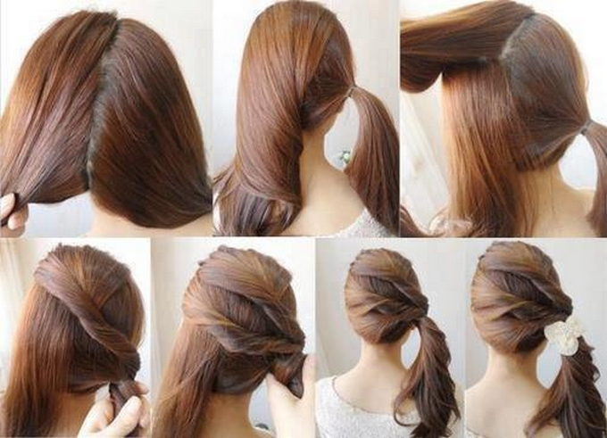 The twisted bangs - 15 ways to make cute ponytails