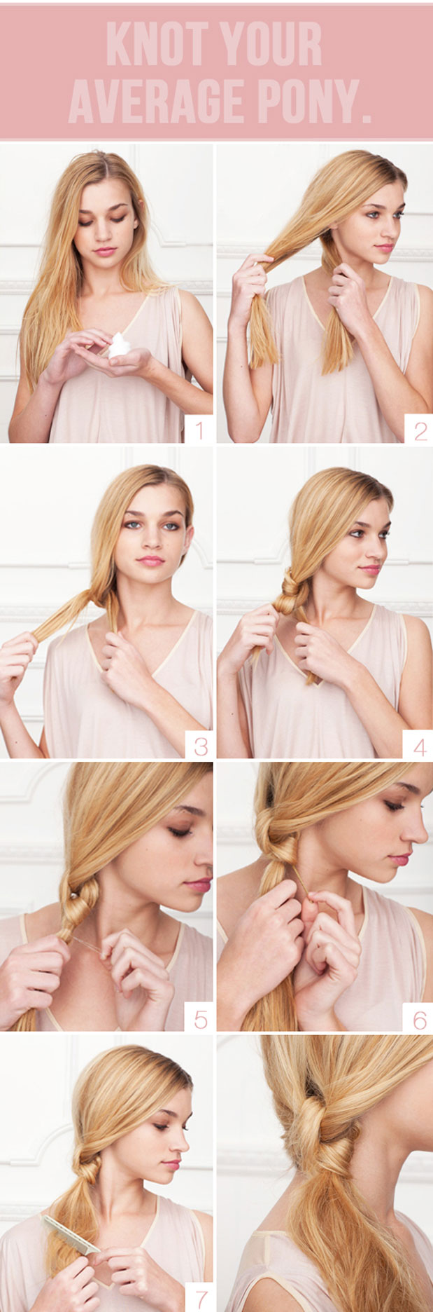 Knotted bangs - 15 ways to make cute ponytails
