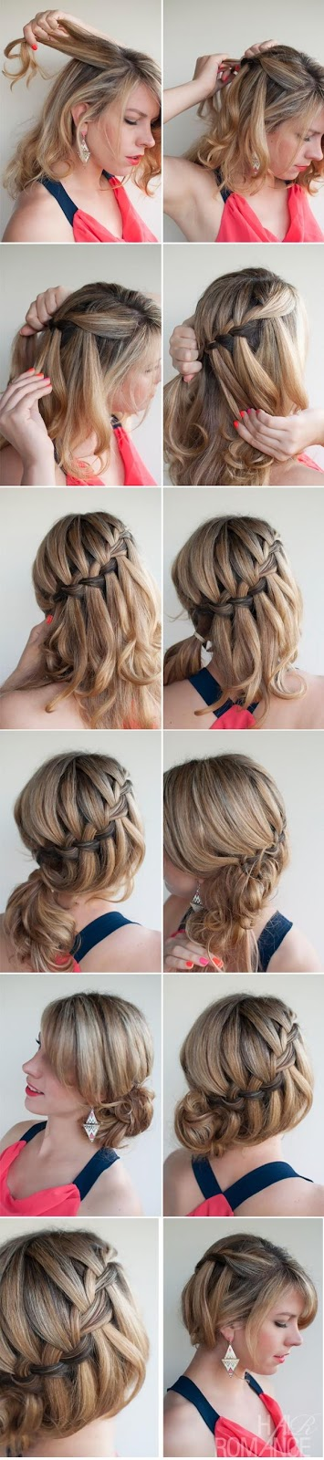 DIY waterfall braided bun hairstyle over