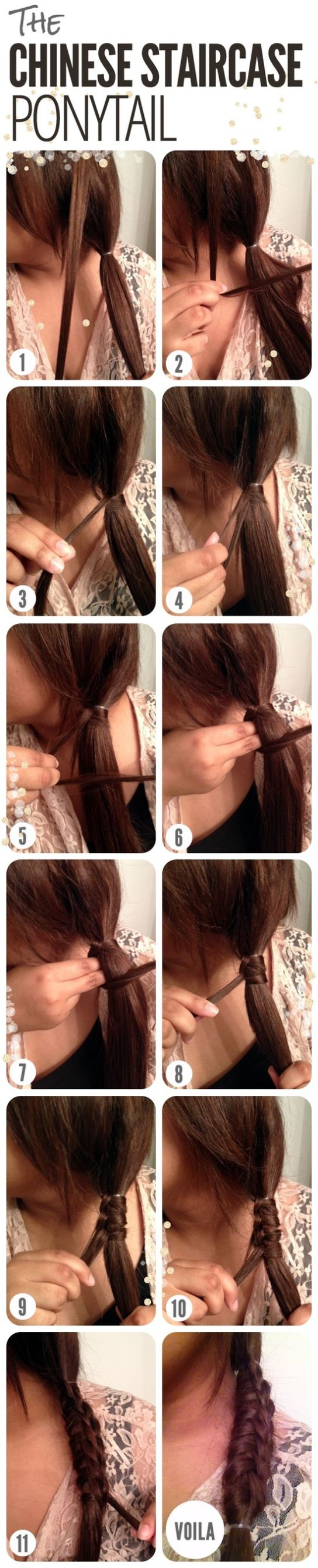 DIY Chinese staircase ponytail hairstyle over