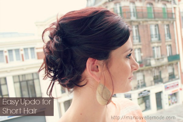 Simple updo for shorter hair over