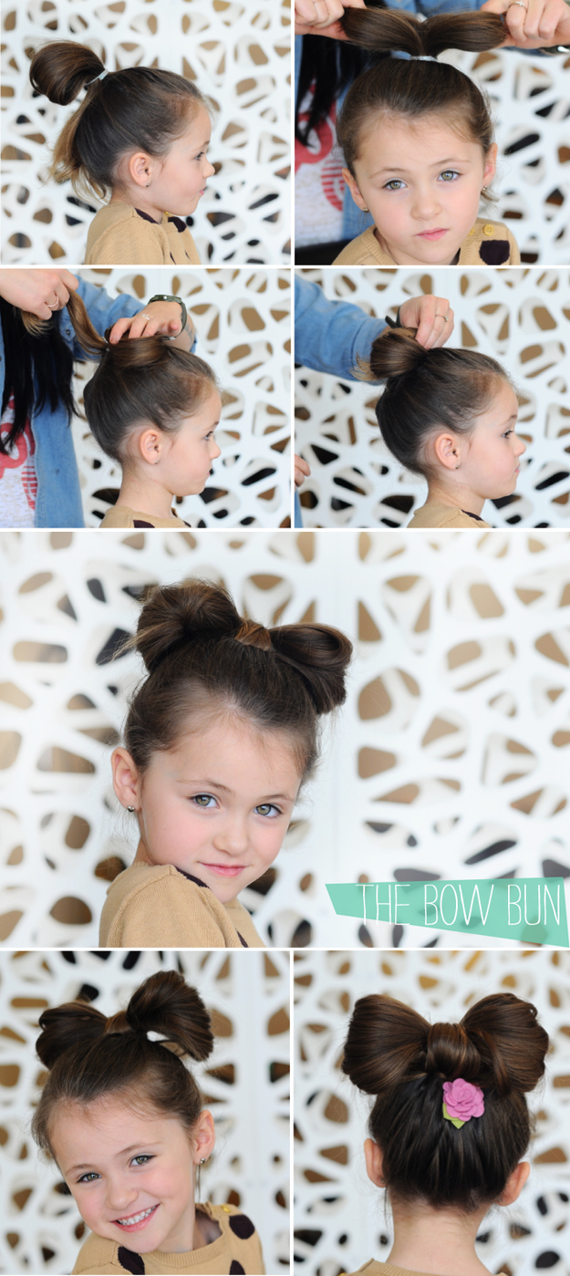 Bun bow hairstyle for your daughter over