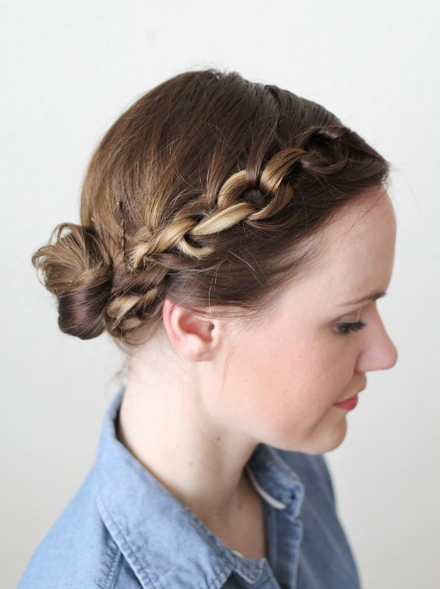 Braided bun over for elegant hairstyle