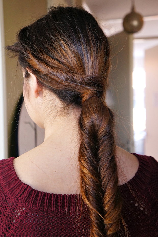 Braided ponytail over for elegant hairstyle