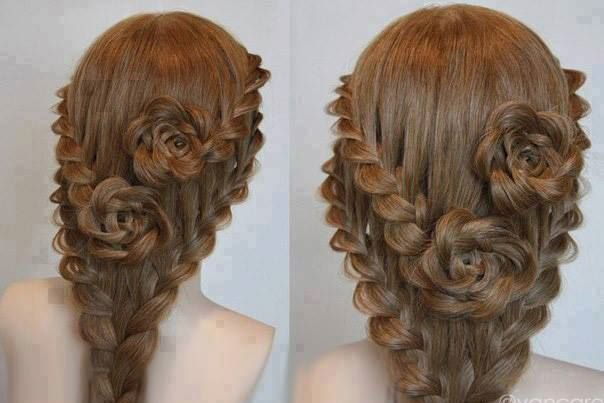 Lace braid roses for long hair over