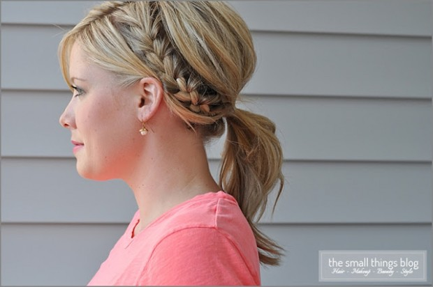 Half french braid ponytail over