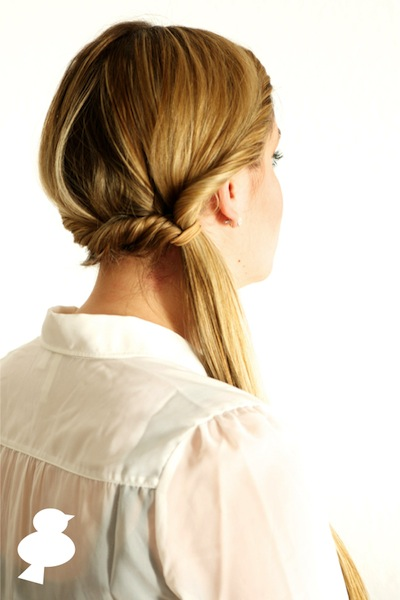 Double twisted ponytail