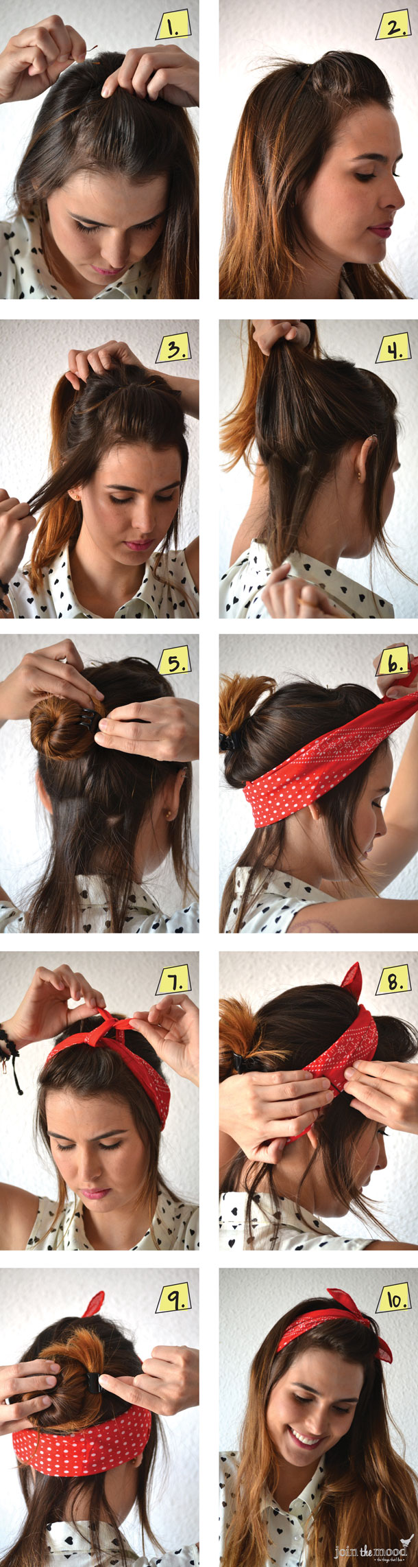 Hair with a red headscarf