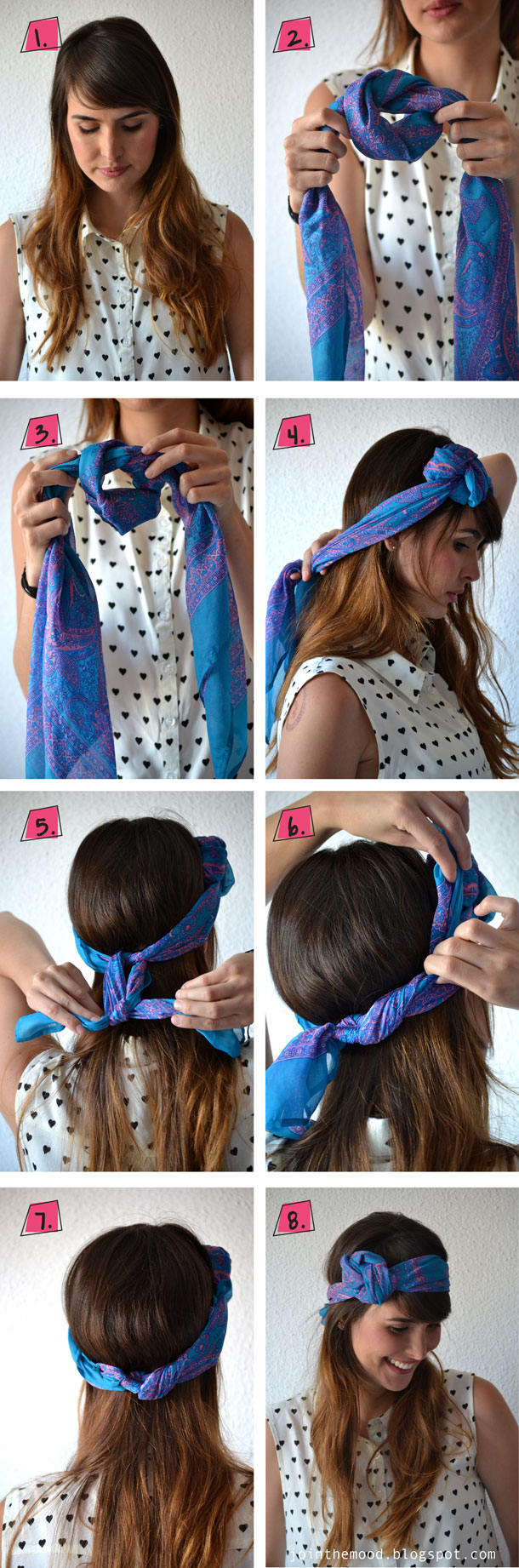 Hair with a blue headscarf
