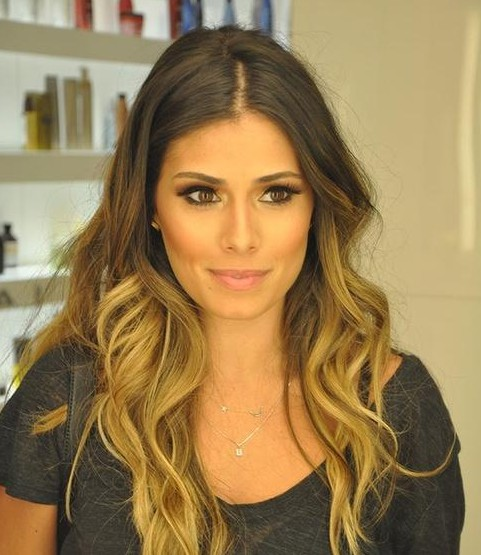 Ombre hair with side part