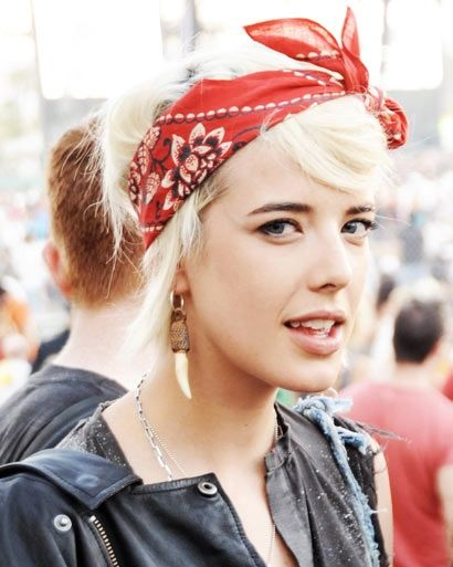 Blond hair with a red headscarf