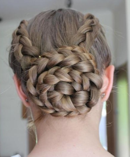 Diagonally braided bun