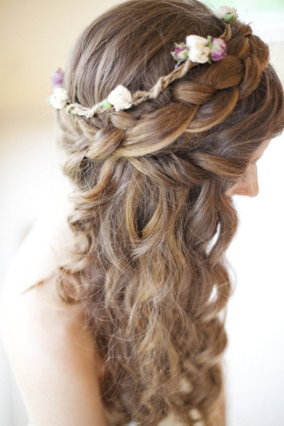 Crown braid with flowers