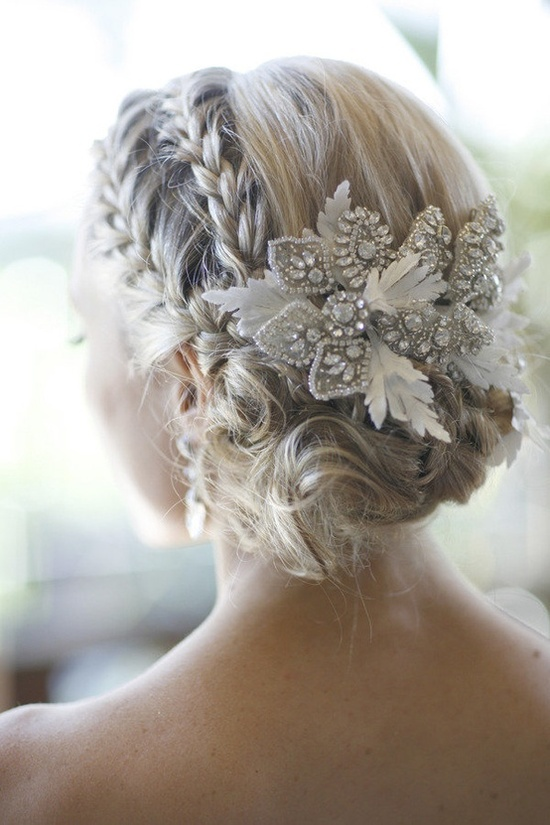 Braided hairstyle with floral accessories