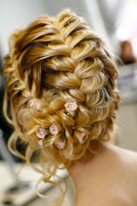 Braided twist with pink flowers