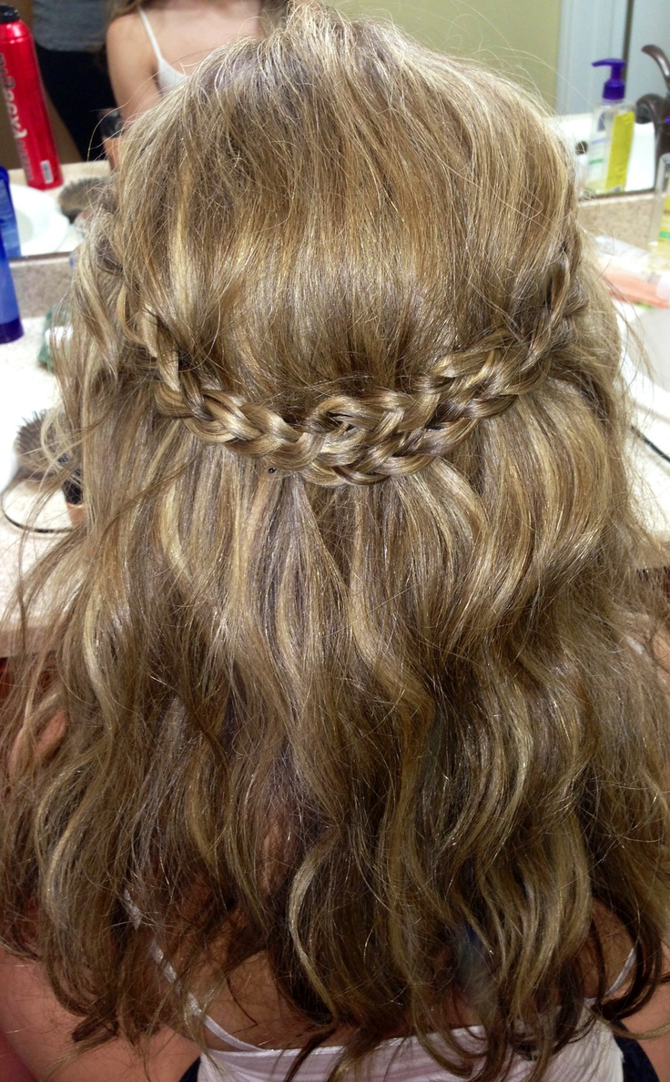 Crown braid for curly hair