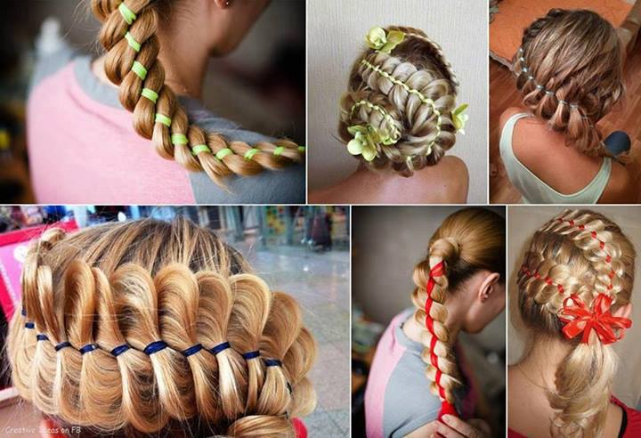 Ribbon braided hair
