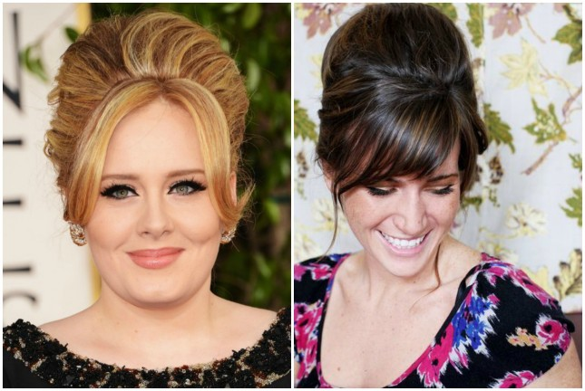 Celebrity-inspired hairstyle: Adele-Beehive with side bangs or side sweep bangs