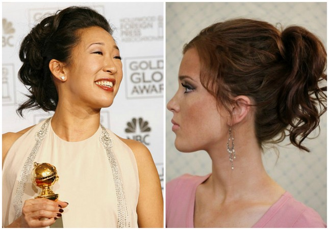 Celebrity-inspired hairstyle: Sandra Oh-High ponytail for medium length hair