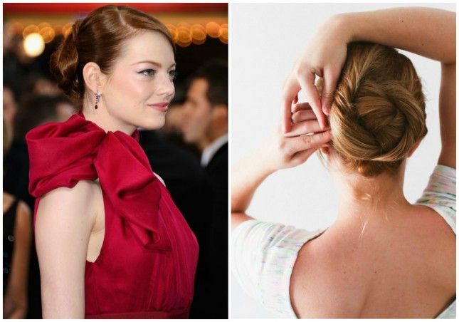 Celebrity-inspired hairstyle: Emma Stone-Pretty Bun without bangs