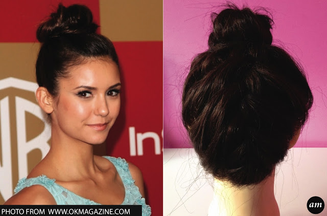 Celebrity-inspired hairstyle: Nina Dobrev-Top Bun