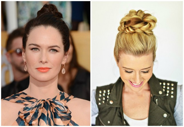 Celebrity-inspired hairstyle: Lena Headey-Braided Bun