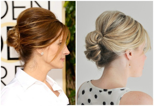 Celebrity-inspired hairstyle: Julia Roberts-Low Bun
