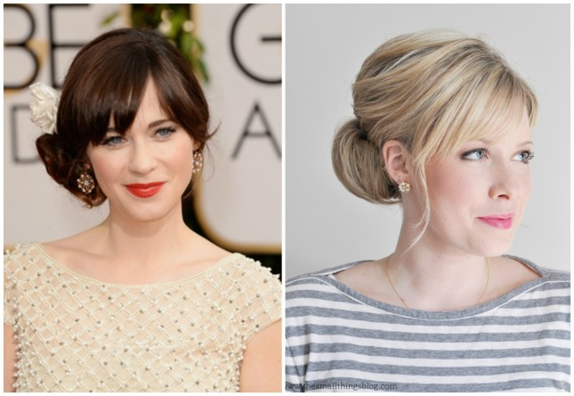 Celebrity-inspired hairstyle: Zooey D-Gorgeous Chignon