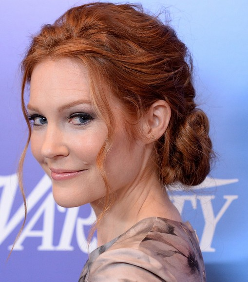 Romantic hairstyles for the bottom updo for every occasion: Darby Stanchfield Twisted Bun