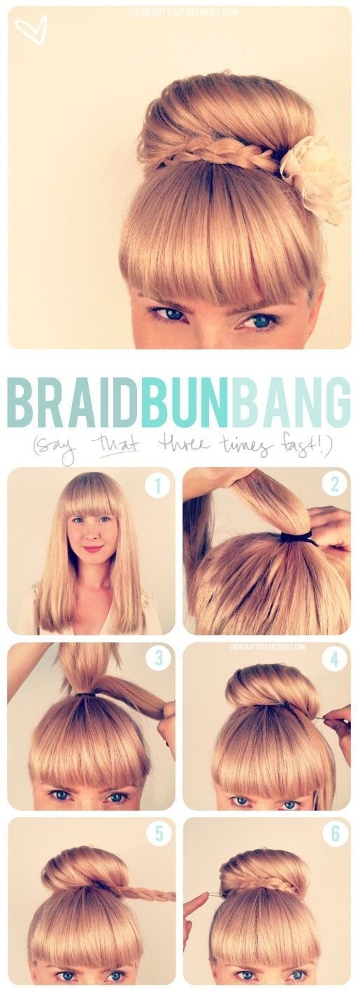 Adorable hairstyle tutorials: Braided bun bang