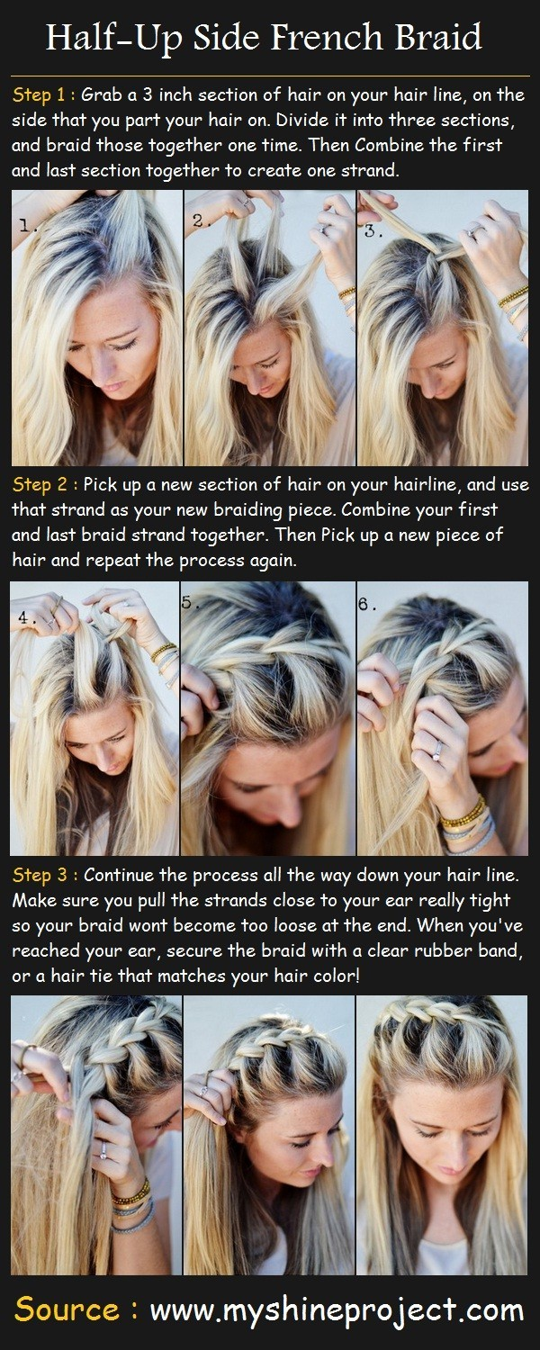 15 Tutorial for braided bangs: Half-up Side French Braid