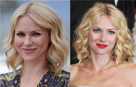 Naomi Watts Hairstyles: Middle Part Medium Waves