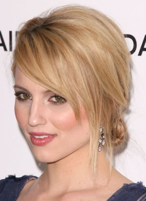Dianna Agron Hairstyles: Messy Updo