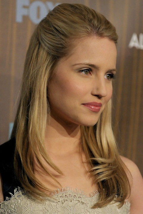 Dianna Agron Hairstyles: Straight Half Up Half Down