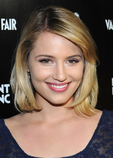 Dianna Agron Hairstyles: Side Parted Medium Haircut
