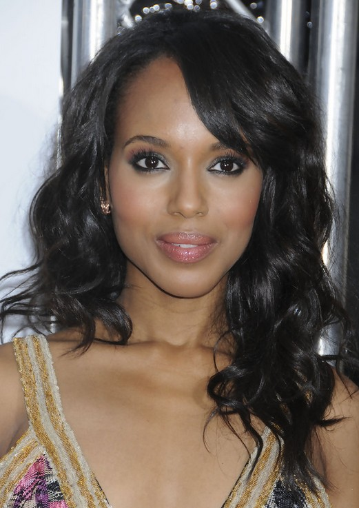 Kerry Washington Hairstyles: Long Curls with Bangs