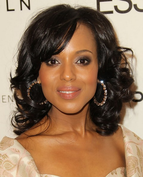 Kerry Washington Hairstyles: Partially Parted Middle Curls