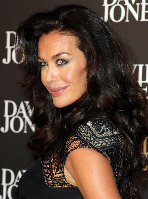 Megan Gale Long Hairstyle: Curls with a Deep Side Part