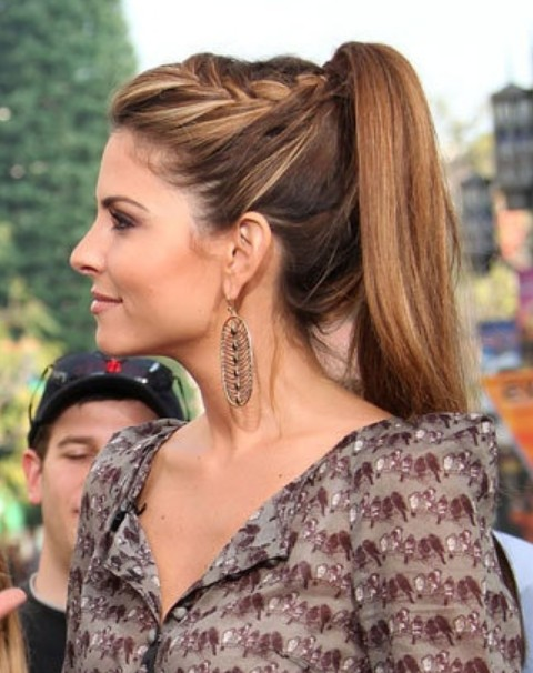 Maria Menouno's hairstyles: high ponytail with braid