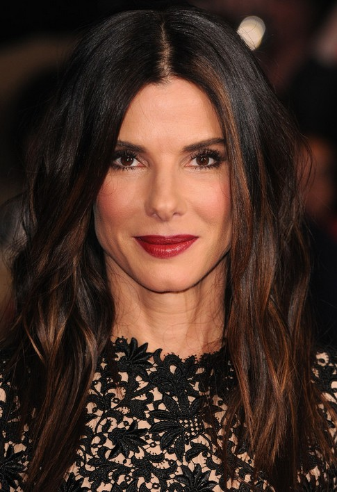Sandra Bullock Long Hairstyle: Middle Part