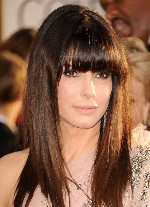 Sandra Bullock Long Hairstyle: Straight Hair with Blunt Bangs