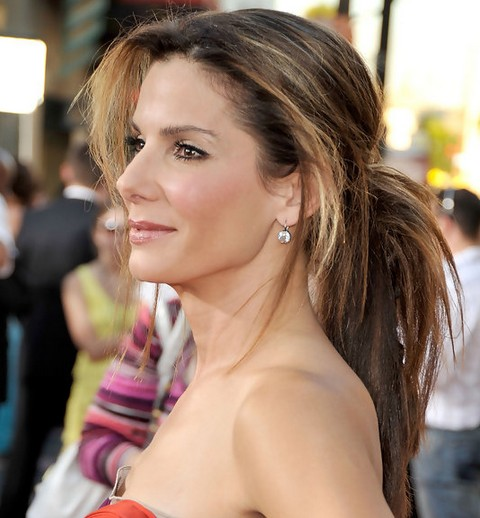 Sandra Bullock Long Hairstyle: Ponytail for Two-Tone Hair