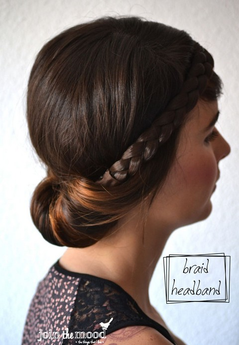 20 tutorials on braided hairstyles: Braid Headband