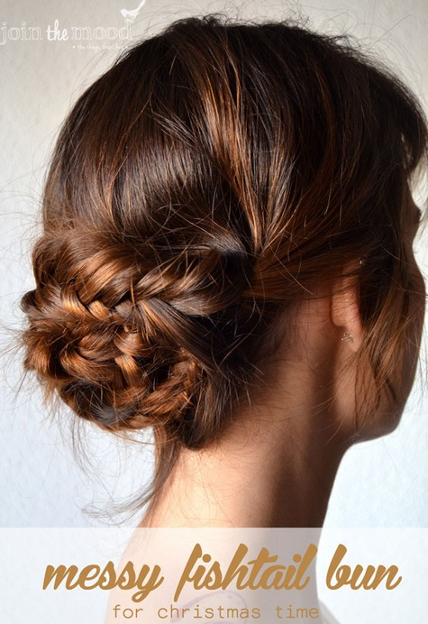 20 tutorials on braided hairstyles: Messy Fishtail Bun