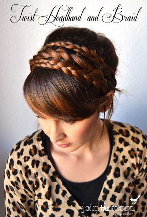 20 tutorials on braided hairstyles: twist headband and braids